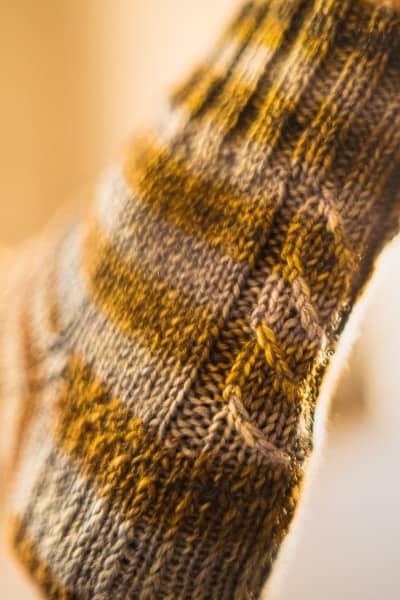 chaussette avec torsade
