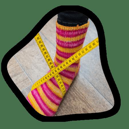 chaussette avec mètre de couture