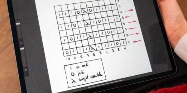 diagramme tricot sur un ipad